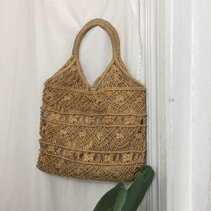 VINTAGE Woven Raffia Market Bag